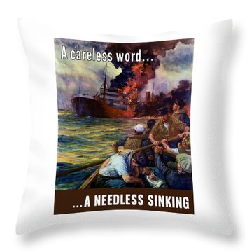 A Careless Word A Needless Sinking Throw Pillow by War Is Hell Store