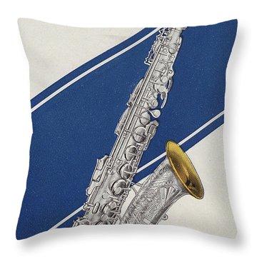 A Charles Gerard Conn Eb Alto Saxophone Throw Pillow by American School