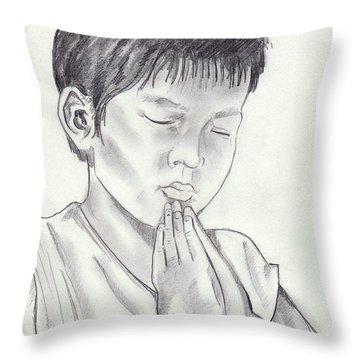 A Child's Prayer Throw Pillow by John Keaton