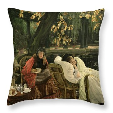 A Convalescent Throw Pillow by James Jacques Joseph Tissot