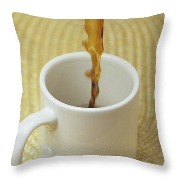 A Cup Of Energy Filled Coffee Is Poured Throw Pillow by Taylor S. Kennedy
