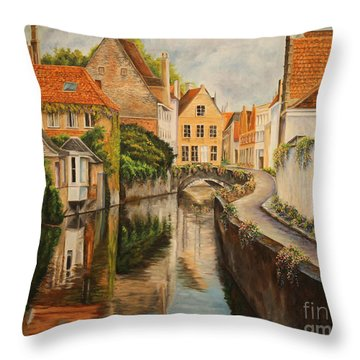 A Day In Brugge Throw Pillow by Charlotte Blanchard