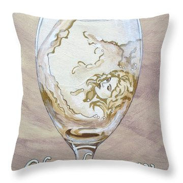 A Day Without Wine - Chardonnay Throw Pillow by Jennifer  Donald