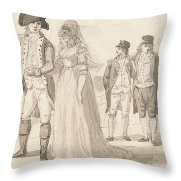 A Family In Hyde Park Throw Pillow by Paul Sandby