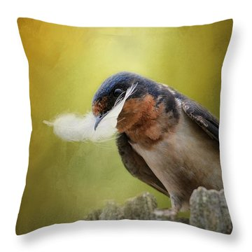 A Feather For Her Nest Throw Pillow by Jai Johnson