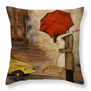 A Hello Kiss Throw Pillow by Leslie Allen