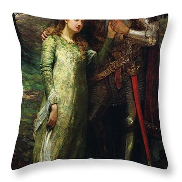 A Knight And His Lady Throw Pillow by William G Mackenzie