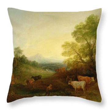 A Landscape With Cattle And Figures By A Stream And A Distant Bridge Throw Pillow by Thomas Gainsborough