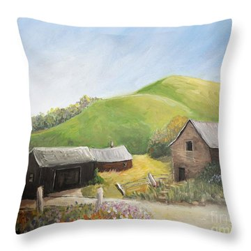 A Little Country Scene Throw Pillow by Reb Frost