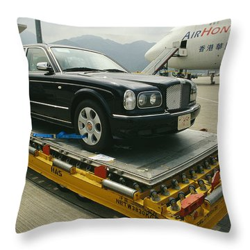 A Luxury Bentley Unloaded From An Throw Pillow by Justin Guariglia