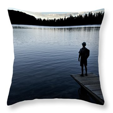 A Man Looking Across A Lake. Into Throw Pillow by Dawn Kish