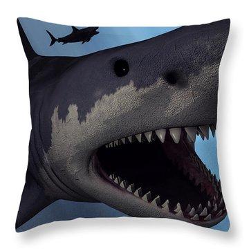 A Megalodon Shark From The Cenozoic Era Throw Pillow by Mark Stevenson