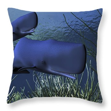 A Mother Sperm Whale Escorts Her Calf Throw Pillow by Corey Ford