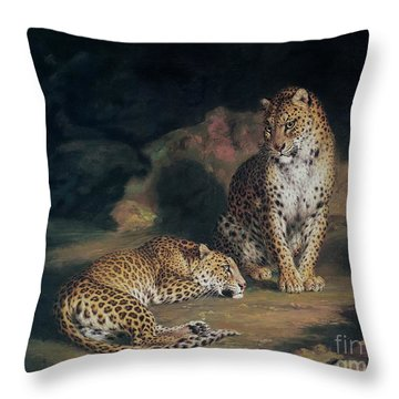 A Pair Of Leopards Throw Pillow by William Huggins