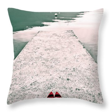 A Pair Of Red Women's Shoes Lying On A Walkway That Leads Into A Throw Pillow by Joana Kruse