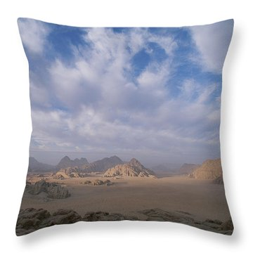 A Panoramic View Of The Wadi Rum Region Throw Pillow by Gordon Wiltsie