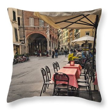 A Pisa Cafe Throw Pillow by Sharon Foster