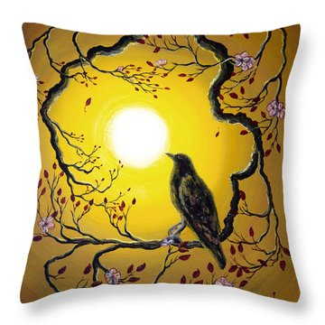 A Raven Remembers Spring Throw Pillow by Laura Iverson