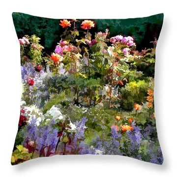 A Riot Of Roses Throw Pillow by Elaine Plesser
