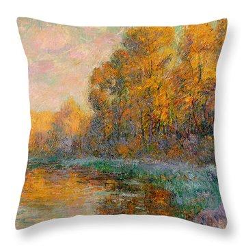A River In Autumn Throw Pillow by Gustave Loiseau