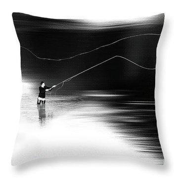 A River Runs Through It Throw Pillow by Hannes Cmarits
