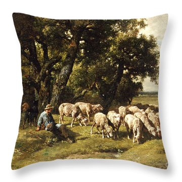 A Shepherd And His Flock Throw Pillow by Charles Emile Jacques