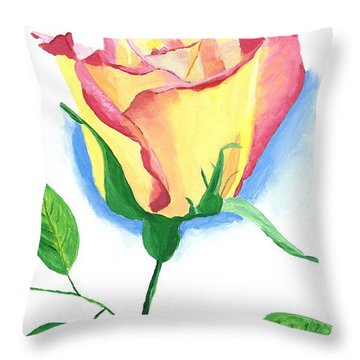 Throw Pillow featuring the painting A Single Rose by Rodney Campbell