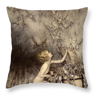 A Sudden Swarm Of Winged Creatures Brushed Past Her Throw Pillow by Arthur Rackham