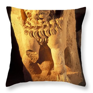 A Temple Winged Lion In The Petra Throw Pillow by Richard Nowitz