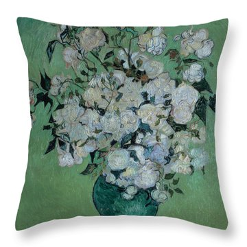 A Vase Of Roses Throw Pillow by Vincent van Gogh