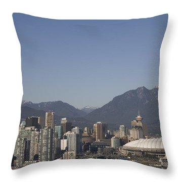 A View Of The Skyline Of Vancouver, Bc Throw Pillow by Taylor S. Kennedy