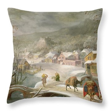 A Winter Landscape With Travellers On A Path Throw Pillow by Denys van Alsloot