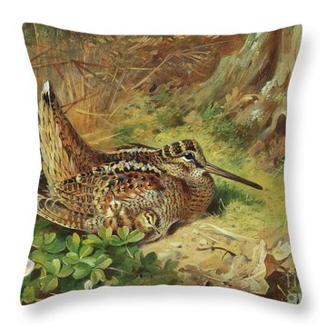 A Woodcock And Chicks Throw Pillow by Archibald Thorburn