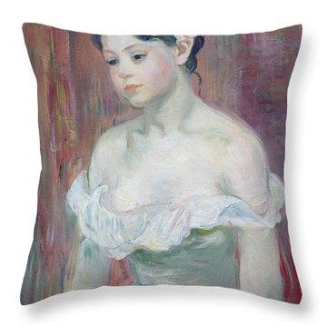 A Young Girl Throw Pillow by Berthe Morisot