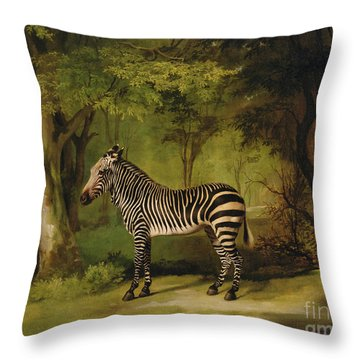 A Zebra Throw Pillow by George Stubbs