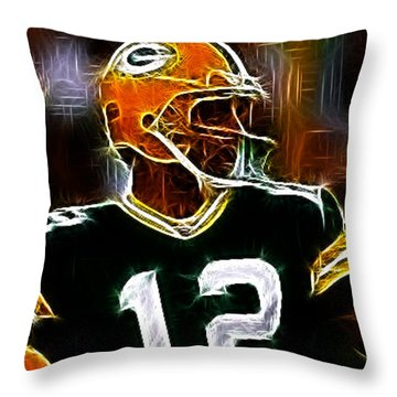 Aaron Rodgers - Green Bay Packers Throw Pillow by Paul Ward