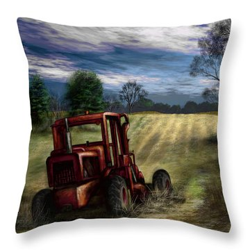 Abandoned Tractor Throw Pillow by Ron Grafe