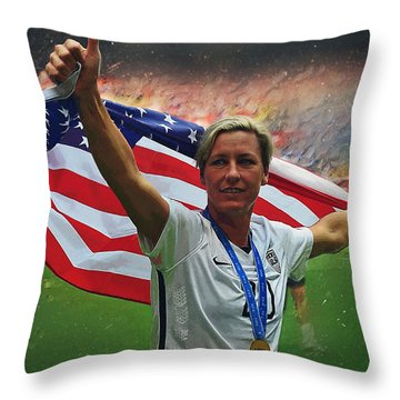 Abby Wambach Us Soccer Throw Pillow by Semih Yurdabak