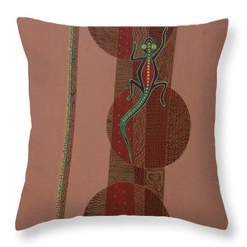 Aboriginal Lizard Throw Pillow by Kaaria Mucherera
