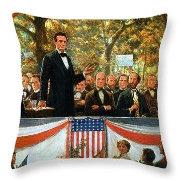 Abraham Lincoln And Stephen A Douglas Debating At Charleston Throw Pillow by Robert Marshall Root