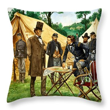 Abraham Lincoln Plans His Campaign During The American Civil War  Throw Pillow by Peter Jackson