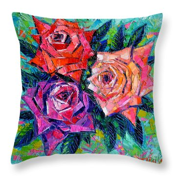Abstract Bouquet Of Roses Throw Pillow by Mona Edulesco