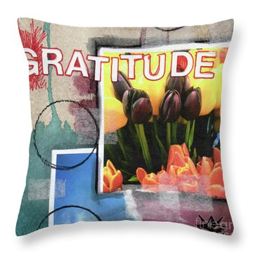 Abstract Gratitude Throw Pillow by Linda Woods