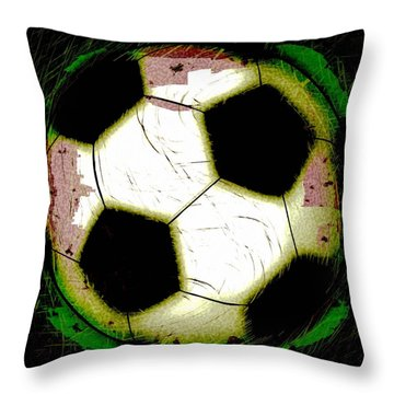 Abstract Grunge Soccer Ball Throw Pillow by David G Paul