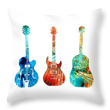 Abstract Guitars By Sharon Cummings Throw Pillow by Sharon Cummings