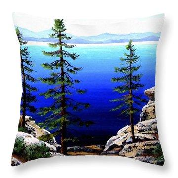 Across Lake Tahoe Throw Pillow by Frank Wilson