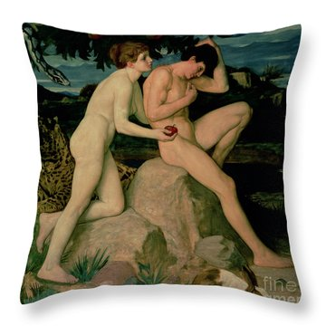 Adam And Eve  Throw Pillow by William Strang