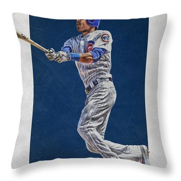 Addison Russell Chicago Cubs Art Throw Pillow by Joe Hamilton