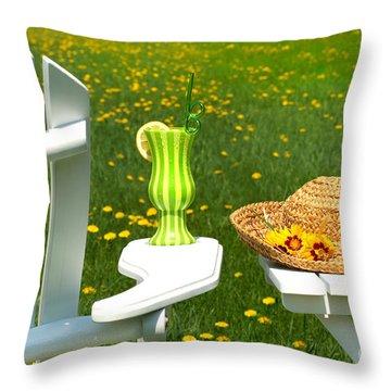 Adirondack Chair On The Grass  Throw Pillow by Sandra Cunningham