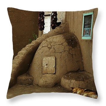 Adobe Oven Throw Pillow by Angela Wright